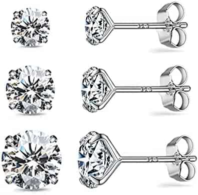 58707045e CZ Stud Earrings Sterling Silver 18K White Gold Plated Round Cubic Zirconia  Hypoallergenic Set(3
