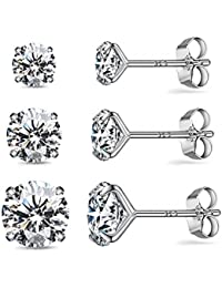 CZ Stud Earrings Sterling Silver 18K White Gold Plated Round Cubic Zirconia Hypoallergenic Set(3 Pairs