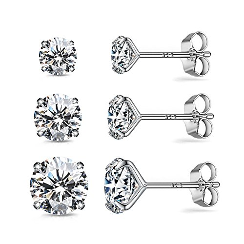 CZ Stud Earrings Sterling Silver 18K White Gold Plated Round Cubic Zirconia Hypoallergenic Set(3 Pairs (Earrings Case Fashion)