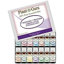Premium Essential Oil Variety Sampler Set Kit 14 Pack - 7 Singles & 7 Blends - 100% Pure Therapeutic Grade 10 ml. Set Includes 14/10 ml. Bottles