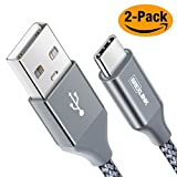 BrexLink USB Certified Type C Cable, USB C to USB A Charger (6.6ft, 2 Pack), Nylon Braided Fast Charging Cord for Samsung Galaxy S9 S8 Note 9, Pixel, LG V30 G6 G5, Nintendo Switch, OnePlus 5 3T (Grey)
