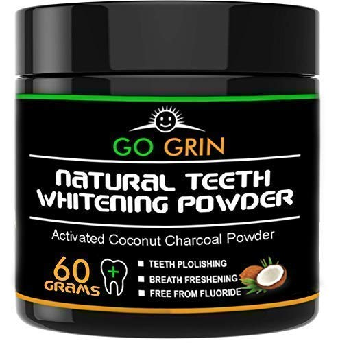 Charcoal Natural Teeth Whitening - Activated Powder abrasive and proven safe for enamel From Coconut Shells 60 Grams