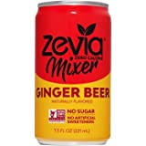 Zevia 生姜啤酒,7.5盎司/221毫升每罐(12罐),零卡路里或糖,天然甜菊叶提取物加甜,完美的饮料混合