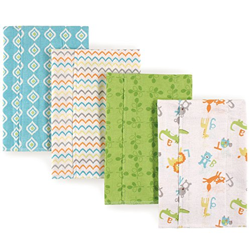 Luvable Friends Kid's Layered Flannel Burp Cloths, 4 Pack Accessory, Alphabet, One Size