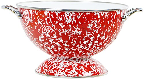Powder Coated Colander - Calypso Basics by Reston Lloyd Powder Coated Enameled Colander, 3 quart, Red Marble