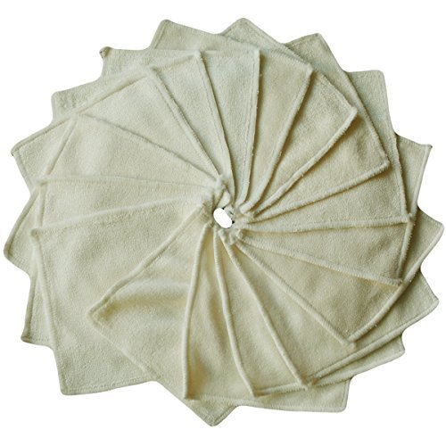Babygoal Bamboo Baby Wipes, Washable Reuseable Saliva Towel Wipes, 12.5cmx12.5cm, Pack of 12pcs Cloth Wipes 12bw01f Huapin