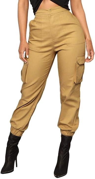 RISTHY Pantalones Cargo Color Sólido Mujer, Harén Pantalones Hip ...