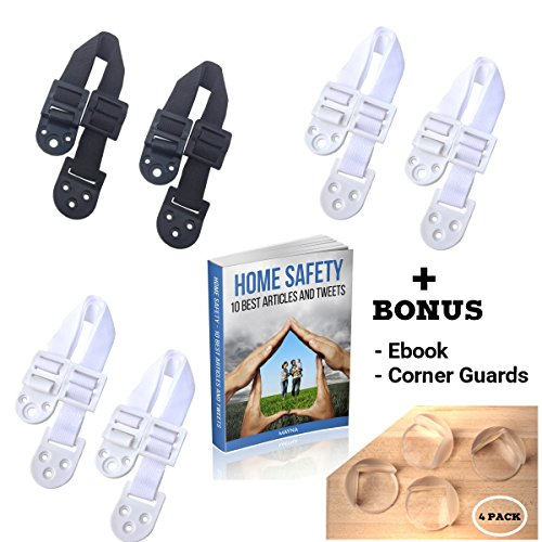 Furniture and TV Anti Tip Straps for Baby Safety   Heavy Duty Strong Hold with Extra Buckle Wall Anchor   Earthquake Child proof Tether   6 Pack (4 White, 2 Black) Bonus 4 pc Corner Guards with (Infant Tv)