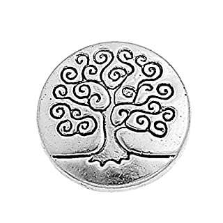 HOUSWEETY 50pcs Silver Tone Metal Buttons Life Tree Fit Sewing and Scrapbook 14.5mm