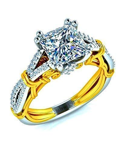 - Princess Cut Diamond Engagement Ring Two-Tone White&Yellow Gold Cross Shank 1.35 Tcw Royal Vintage Scrolls Custom Designer Fine Jewelry