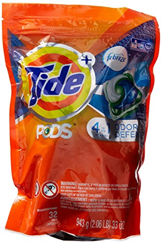 Tide 4 In 1 Pods Plus Febreze Laundry Detergent Packs, Botanical Rain, 32 Count