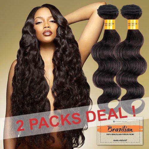 (2-PACK DEALS! Sensationnel Unprocessed Brazilian Virgin Remy Human Hair Weave Bare & Natural Body Wave (18