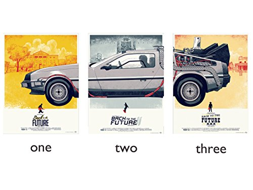 3 Pieces Back To The Future 1 2 3 Movie Car Poster Artwork Pictured Canvas Modern Astract Art Mount For Bar Office Room Wall Print Home Decoration (9.45x12.99inch 12.99x16.93inch)