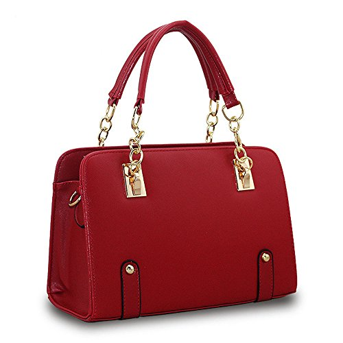 DELEY Fashion Women Chain Top Handle Tote Handbag Office Shoulder Bag Burgundy
