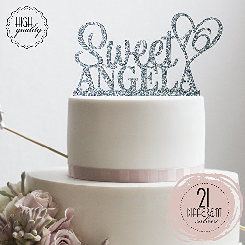 Personalized Sweet Sixteen Cake Topper 16th Birthday Cake Topper Customized Name Cake Topper Party Supplies   Glitter Cake -