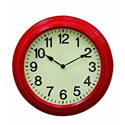 Creative Co-Op Urban homestead Round Metal Wall Clock, 16-Inch, Red