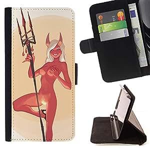 Momo Phone Case / Flip Funda de Cuero Case Cover - Devil Angel Mujer desnuda Cuernos Fuego Sexy - Samsung Galaxy S6 Active G890A