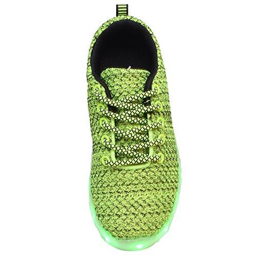 YILAN Kleinkind & Kinder & Womens'led Schuhe wiederaufladbare beleuchtete Turnschuhe D-grün
