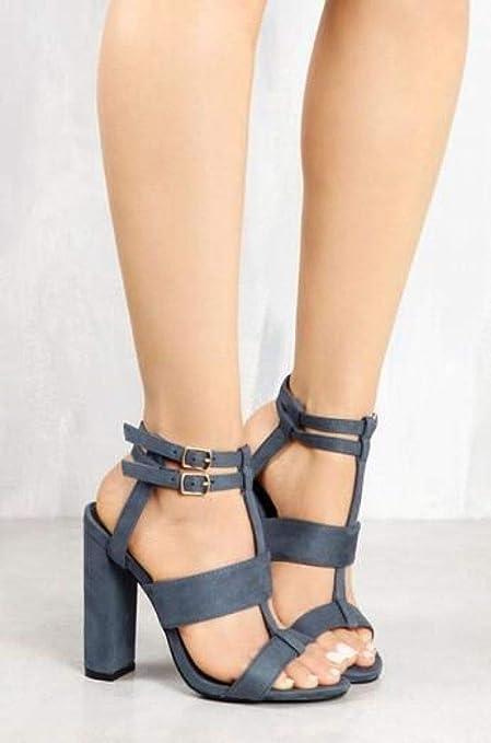 c40455c7 FuweiEncore Sandalias de tacón Muy Alto para Mujer - Zapatos Grandes para  Mujer Hollow Round Head