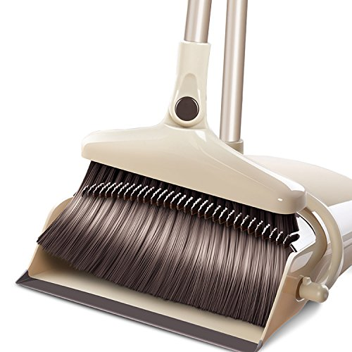 FRMARCH Broom Dustpan Set Rotatable Self Cleaning Broom Dust Pan Long Handle, Standing Upright Grips Sweep Set Lobby Broom Combo Set Kitchen Garden Garage Office (Beige2) ()