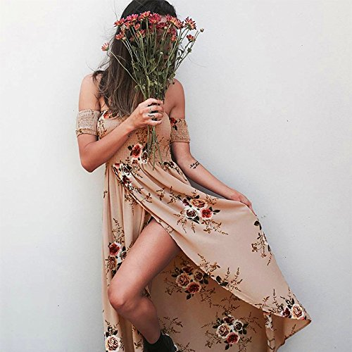 Fuera Vestidos Abertura Del Caqui Casual Vsecrety Hombro De mujeres Boho Maxi Vestir División Largo las Gasa UqWnIOw7