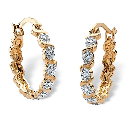 2heart 1.58Ct Round D/VVS1 Diamond Accent S-link Hoop Earrings 14K Yellow Gold Overlay - 14k Gold Overlay Accent