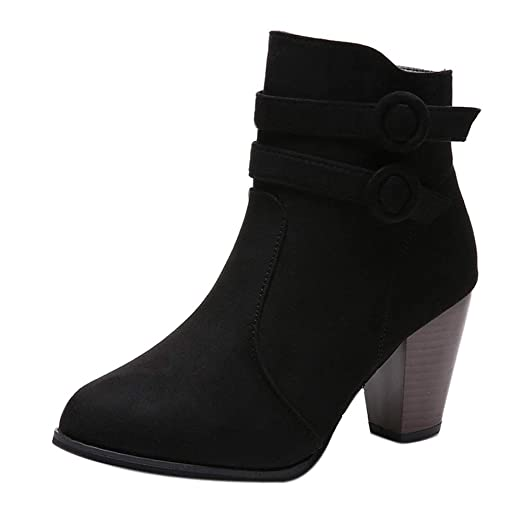 e0e425dd67 Ninasill Women Ankle Boots Boots Knight Thick Heel Boots Ladies Short Shoes( Black,US