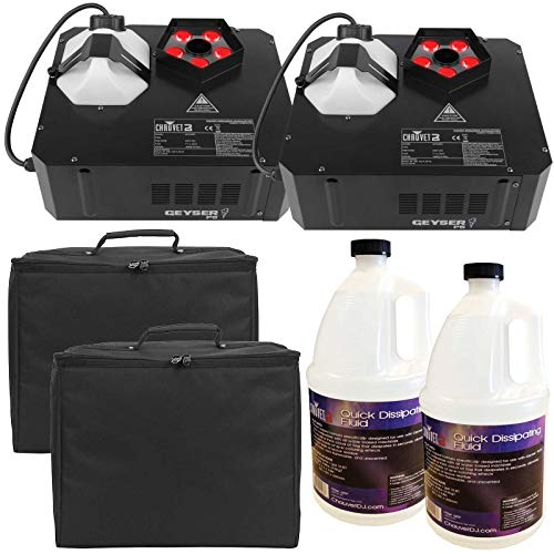 ((2) Chauvet DJ Geyser P5 LED Fog Machines with Quick Dissipating Fog Fluid and Padded Carry Cases Package)