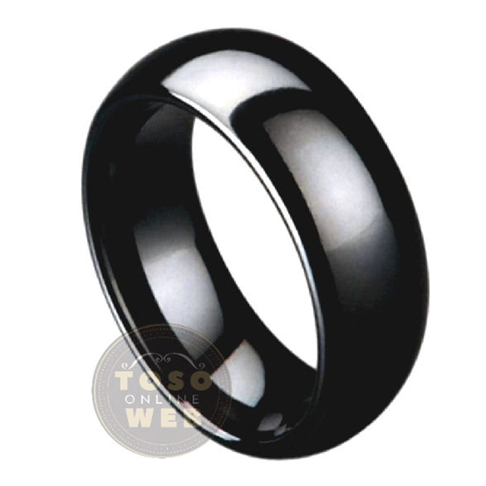 s13 Mens 7mm Classic Dome Edge High Polished Black Ceramic Ring Comfort Fit Wedding Band