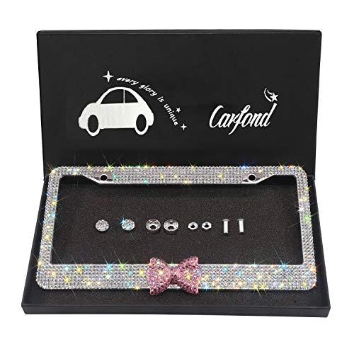 Frame Plate Tags (Carfond 7 Row Handcrafted 1000+ pcs Finest 14 Facets SS20 Premium Glass Crystal Diamond Stainless Steel License Plate Frame Bonus Matching Screws Caps (Pink Bowtie))