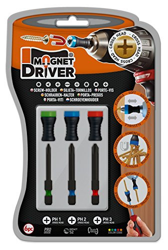 Magnet Driver Screw-Holder by Micaton | Magnetic Screwdriver Attachment | Fits Screwdrivers and Power Bits | No Wobbling or Falling Screws | Allows Countersinking (B33PH)
