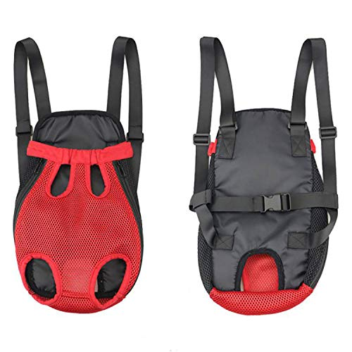 Pet Dog Carrier Front Chest Backpack Five Holes Backpack Dog Outdoor Carrier Tote Bag Sling Holder Mesh Cat Puppy Dog Carriers,Red,M