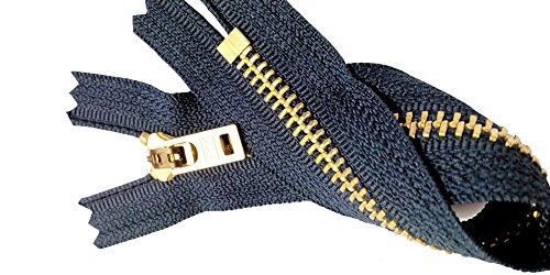 ZipperStop Wholesale Authorized Distributor YKK® Two 7 Inch Brass Jeans Zipper YKK Number 5 Gold Colored Metal Teeth Zips with Locking Slider Closed Bottom Color Navy #560 ()