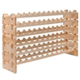 Wine Rack 72 Bottles Stackable Storage 6 Layer Solid Wood Display Shelves