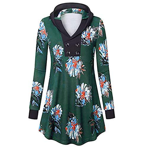 AMOFINY Women's Blouse Button Printing Long Sleeve Cowl Neck Hem Tunic Tops
