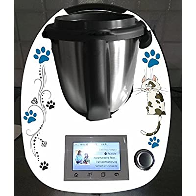 Grafix Autocollants pour Thermomix TM 5Pot Magique chat bleu pétrole