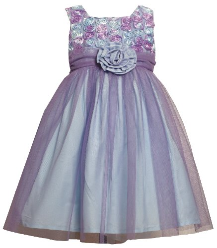 Bonnie Jean TODDLERS 2T-4T LAVENDER-PURPLE AQUA-BLUE BONAZ ROSETTE MESH OVERLAY Special Occasion Flower Girl Easter Party Dress