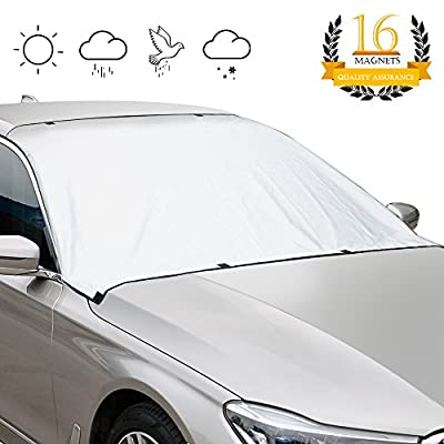 "GOOACC Magnetic Windshield Cover, 8 x 2 Magnets Windshield Snow Cover - Car shade - Sun Shade - No More Scraping - Door Flaps Windproof Fits Most Iron Hood and Roof Car, SUV, Truck, Van with 92""x 53"""