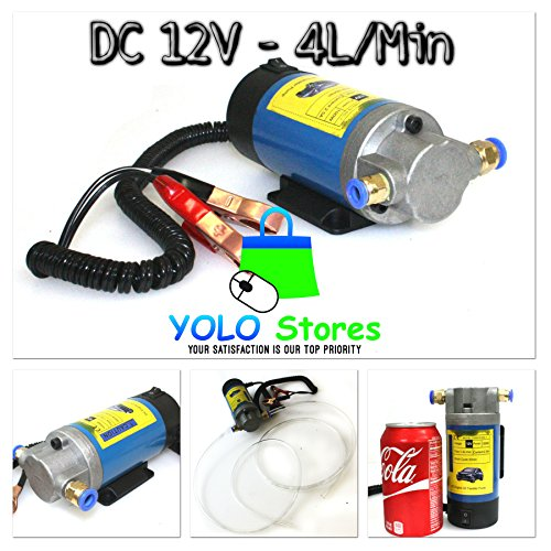 Transfer Pump Fuel Extractor Vacuum Fluid 12V Oil Electric 4 Liters Mini Portable Engine By YOLO Stores
