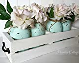 Painted Mason Jars (Set of 4) with Wood Planter - Wedding Centerpiece - Flower Vase