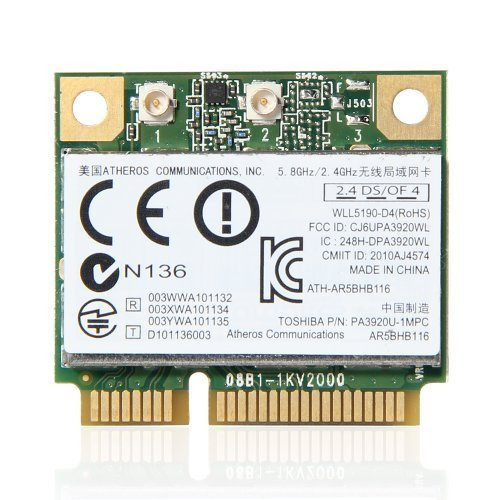 Atheros AR9832 AR5BHB116 2.4/5 GHz Single-chip 300 Mbps 802.11n MINI PCI-E Wireless Card by Atheros