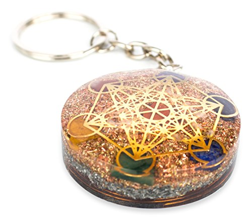 Reversible Metatron Cube Orgonite Mixed Chakra Orgone Pendant – Revitalization and relaxation Chi energy enhancing Carnelian, Lapis Lazuli, Crystal necklace with Tesla Coil (Keychain (Chi Energy Pendant)