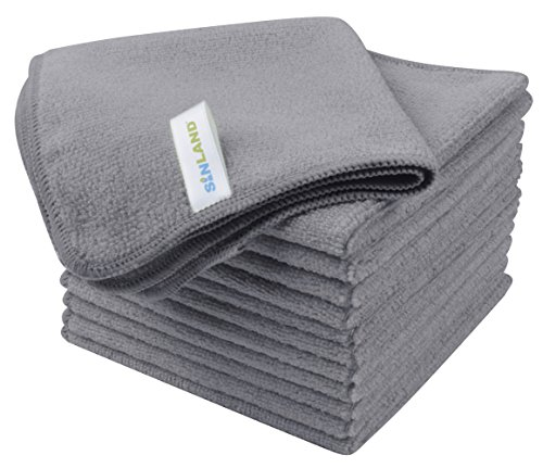 Sinland Absorbent Microfiber Dish Cloth Kitchen Streak Free Cleaning Cloth Dish Rags Glass Cloths 12inchx12inch 12 Pack Grey