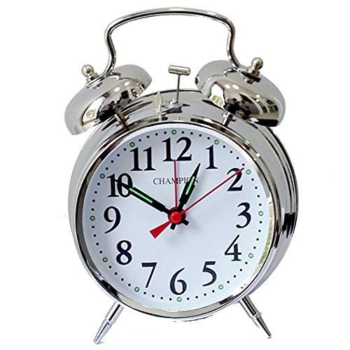 Champion Double Bell Keywound Alarm Clock Large Chrome Metal Case