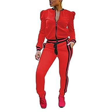 f460d7f1690d65 HANMAX Jogging Survêtement Femme Ensemble Deux Pièces Manches Longue Zipper  Top + Pantalon Gym Tenue de