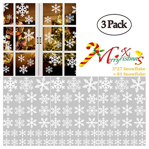 WenMei Snowflake Window Stickers Christmas Snowflakes Wall Stickers Snowflake Static Paste Large Snowflakes Christmas Decoration for Glass,Door Ornaments 3 Sets 81 Pieces ()