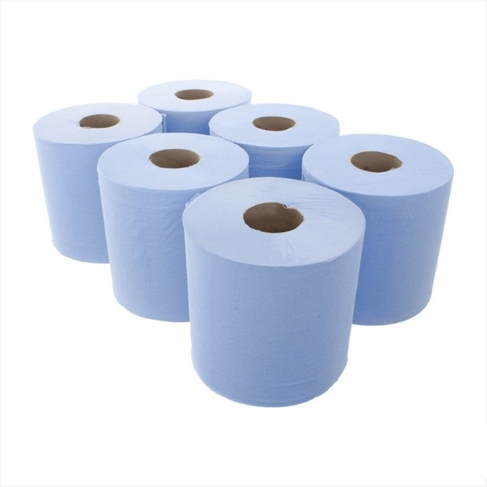 2-PLY RECYCLED EMBOSSED 6 x 80 METRE CENTRE FEED BLUE ROLL UK MADE TOP QUALITY BIODEGRADABLE SOLD BY WECANSOURCEITLTD/®