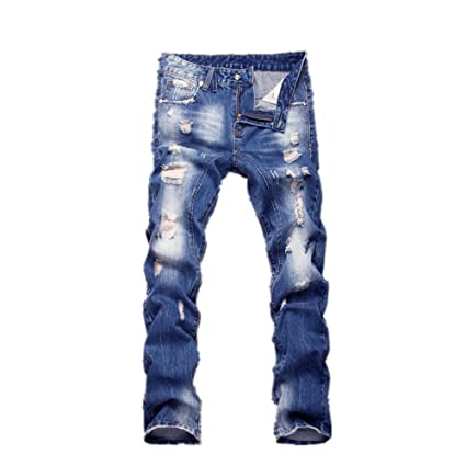 Jeans de Hombre Los Hombres Desgastados Slim Fit Zipper los ...