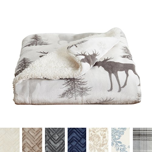 Home Fashion Designs Premium Reversible Berber and Sculpted Velvet Plush Rustic Lodge Blanket. High-End, Soft, Warm Sherpa Bed Blanket. By Brand. (Full/Queen, (Home Fashions Moose)