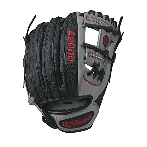 Wilson A2000 SuperSkin 1788 Baseball Glove, Grey/Red, 11.25